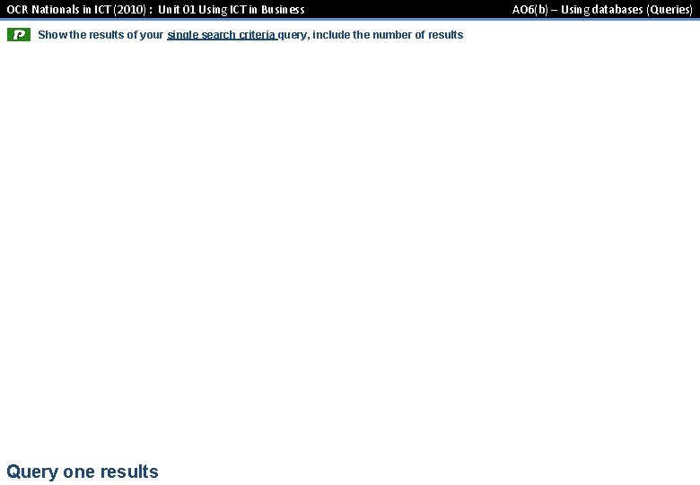 OCR Nationals in ICT (2010) : Unit 01 Using ICT in Business Show the