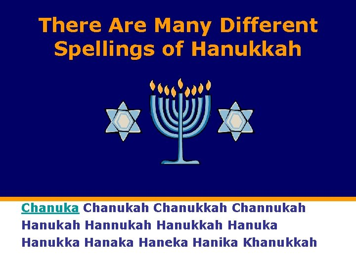 There Are Many Different Spellings of Hanukkah Chanukah Chanukkah Channukah Hannukah Hanuka Hanukka Hanaka