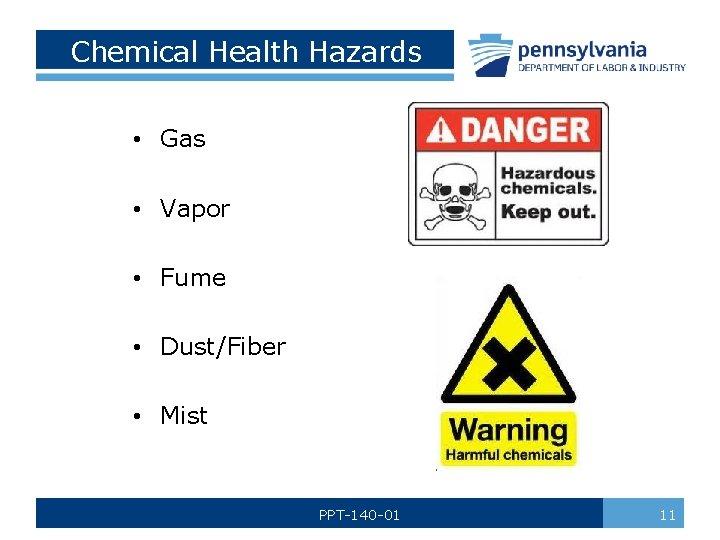 Chemical Health Hazards • Gas • Vapor • Fume • Dust/Fiber • Mist PPT-140