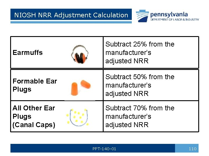 NIOSH NRR Adjustment Calculation Earmuffs Subtract 25% from the manufacturer's adjusted NRR Formable Ear