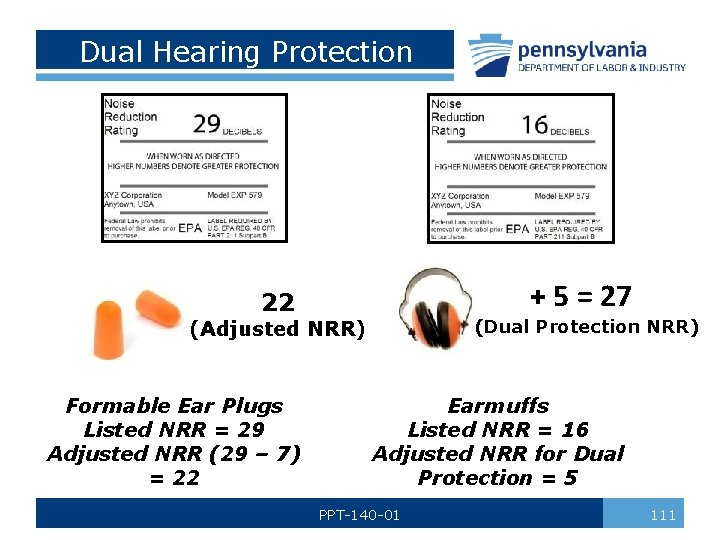 Dual Hearing Protection + 5 = 27 22 (Dual Protection NRR) (Adjusted NRR) Formable