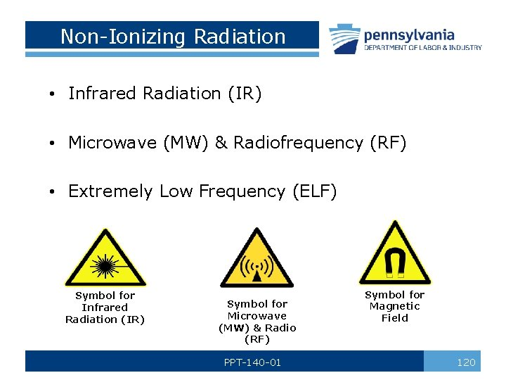 Non-Ionizing Radiation • Infrared Radiation (IR) • Microwave (MW) & Radiofrequency (RF) • Extremely