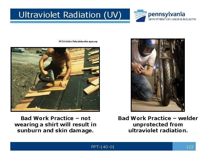 Ultraviolet Radiation (UV) NIOSH/John Rekus/elcoshimages. org Bad Work Practice – not wearing a shirt
