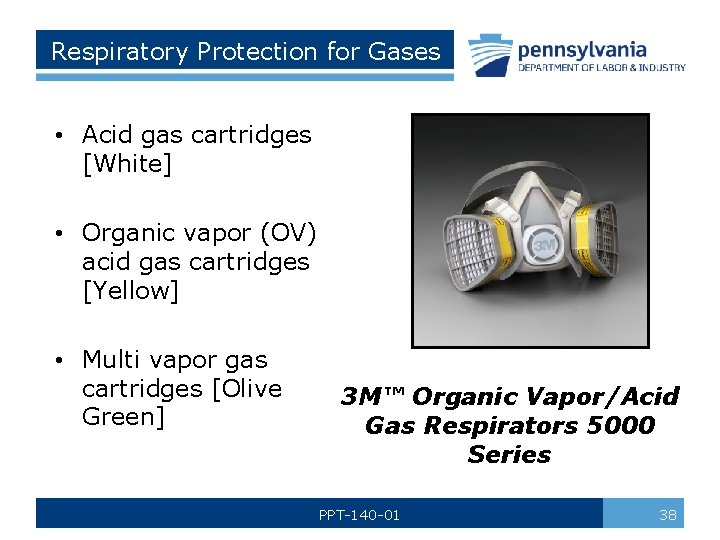 Respiratory Protection for Gases • Acid gas cartridges [White] • Organic vapor (OV) acid