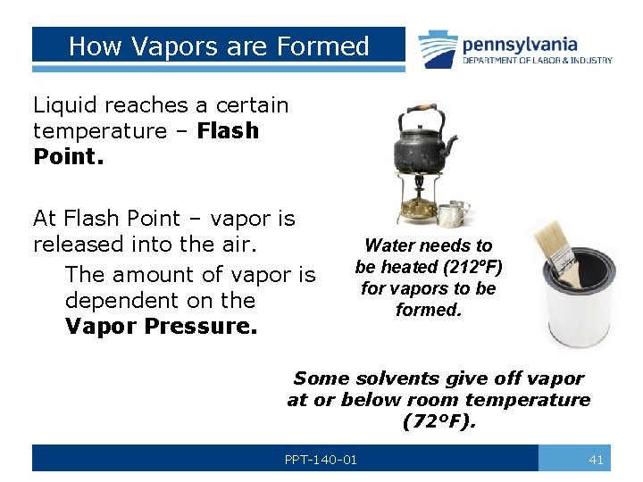 How Vapors are Formed Liquid reaches a certain temperature – Flash Point. At Flash