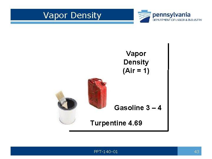 Vapor Density (Air = 1) Gasoline 3 – 4 Turpentine 4. 69 PPT-140 -01