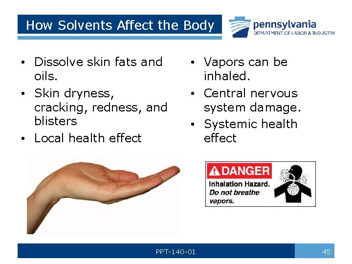 How Solvents Affect the Body • Dissolve skin fats and oils. • Skin dryness,