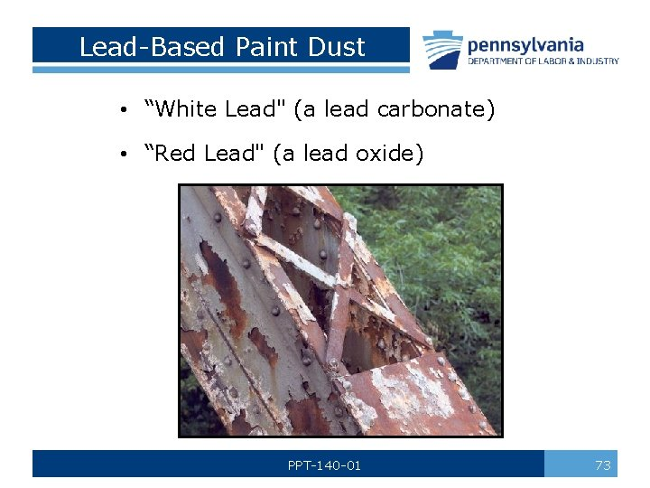 """Lead-Based Paint Dust • """"White Lead"""" (a lead carbonate) • """"Red Lead"""" (a lead"""