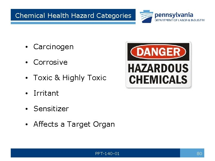 Chemical Health Hazard Categories • Carcinogen • Corrosive • Toxic & Highly Toxic •