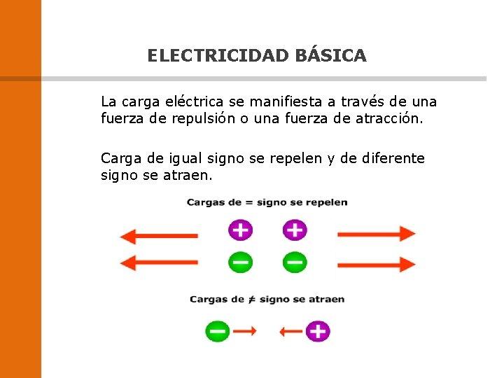 ELECTRICIDAD BÁSICA La carga eléctrica se manifiesta a través de una fuerza de repulsión