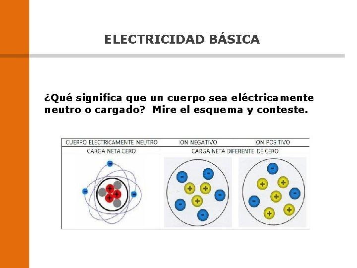 ELECTRICIDAD BÁSICA ¿Qué significa que un cuerpo sea eléctricamente neutro o cargado? Mire el