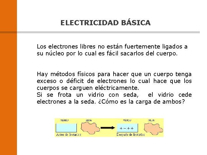 ELECTRICIDAD BÁSICA Los electrones libres no están fuertemente ligados a su núcleo por lo