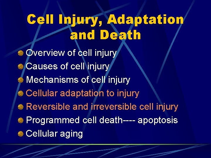 Cell Injury, Adaptation and Death Overview of cell injury Causes of cell injury Mechanisms