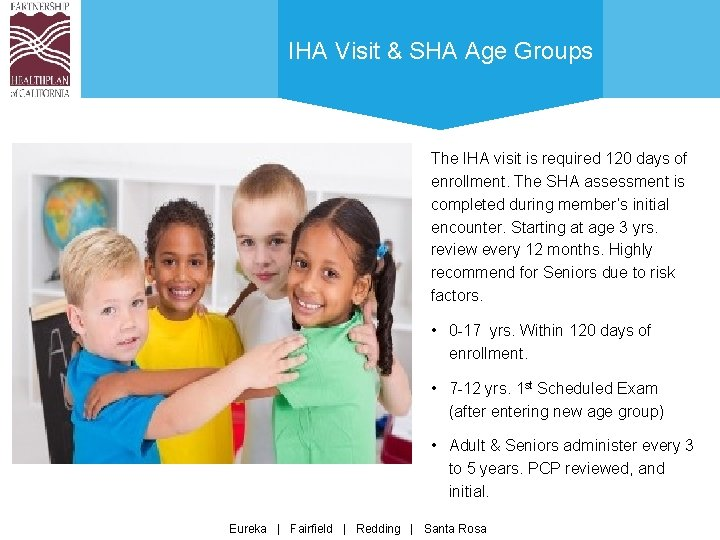 IHA Visit & SHA Age Groups The IHA visit is required 120 days of
