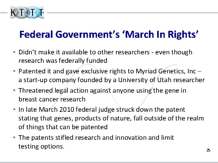 Federal Government's 'March In Rights' • Didn't make it available to other researchers -