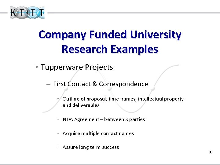 Company Funded University Research Examples • Tupperware Projects – First Contact & Correspondence •
