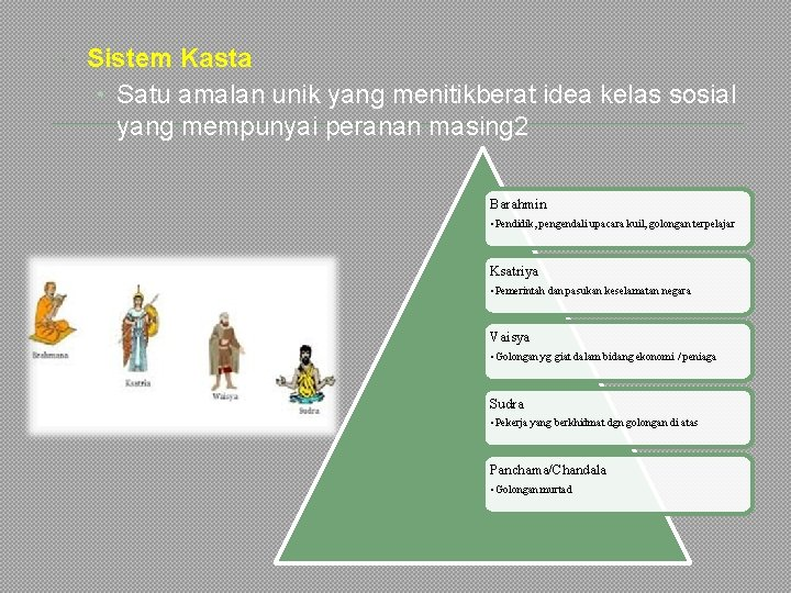 Sistem Kasta • Satu amalan unik yang menitikberat idea kelas sosial yang mempunyai