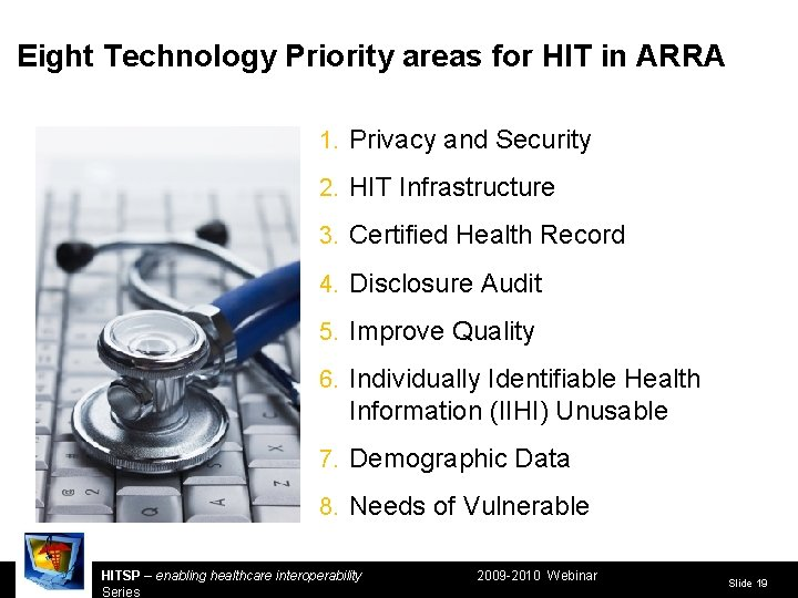 Eight Technology Priority areas for HIT in ARRA 1. Privacy and Security 2. HIT