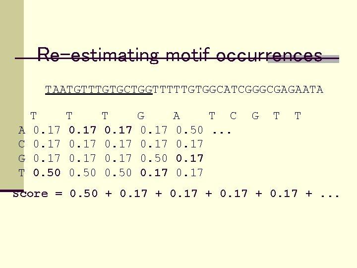 Re-estimating motif occurrences TAATGTTTGTGCTGGTTTTTGTGGCATCGGGCGAGAATA A C G T T 0. 17 0. 50 T