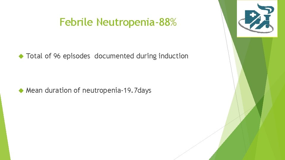 Febrile Neutropenia-88% Total of 96 episodes documented during induction Mean duration of neutropenia-19. 7