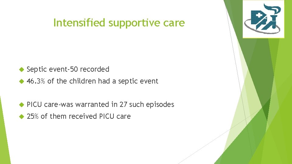Intensified supportive care Septic event-50 recorded 46. 3% of the children had a septic