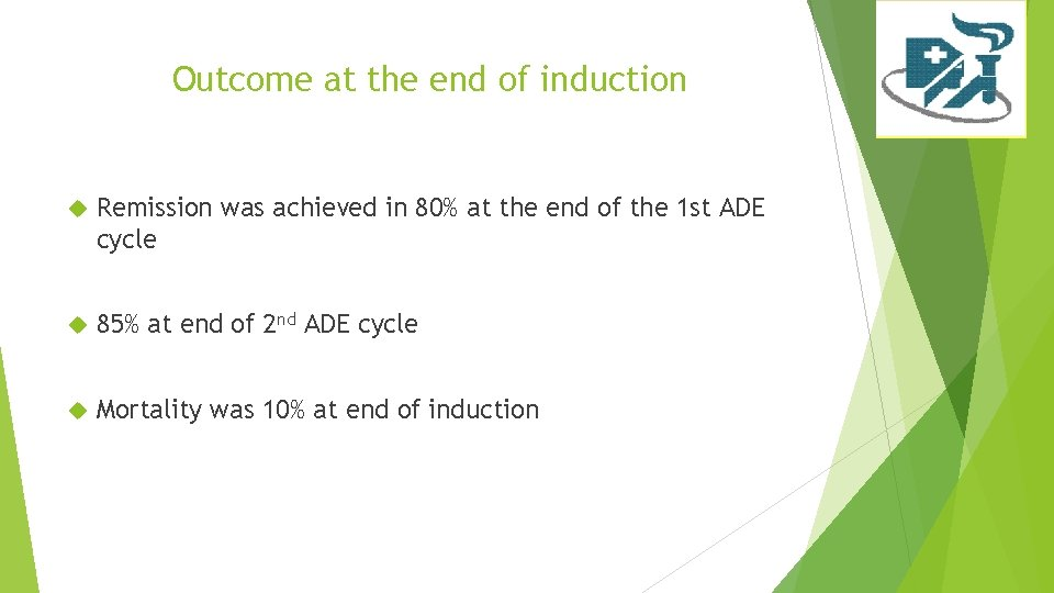 Outcome at the end of induction Remission was achieved in 80% at the end