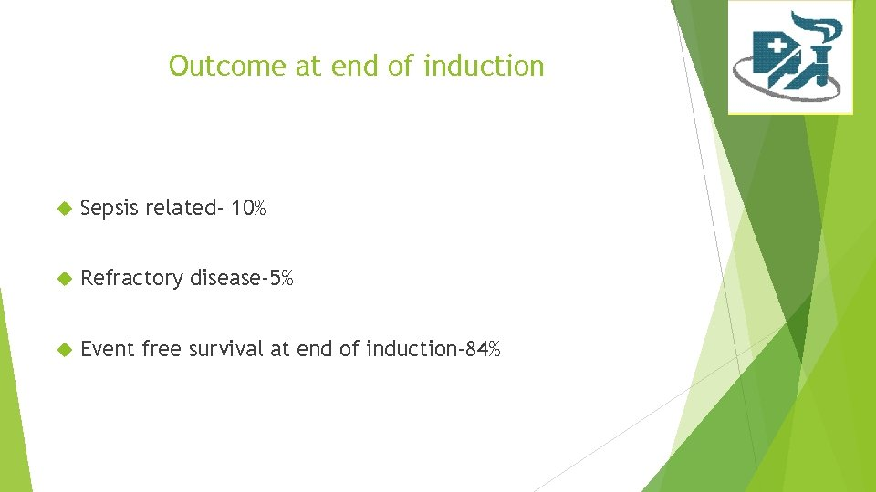Outcome at end of induction Sepsis related- 10% Refractory disease-5% Event free survival at