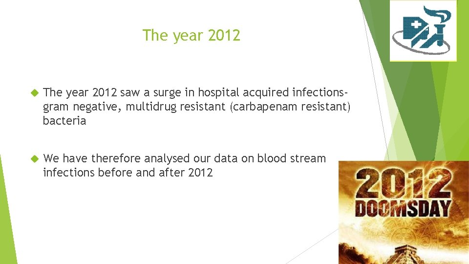 The year 2012 saw a surge in hospital acquired infectionsgram negative, multidrug resistant (carbapenam