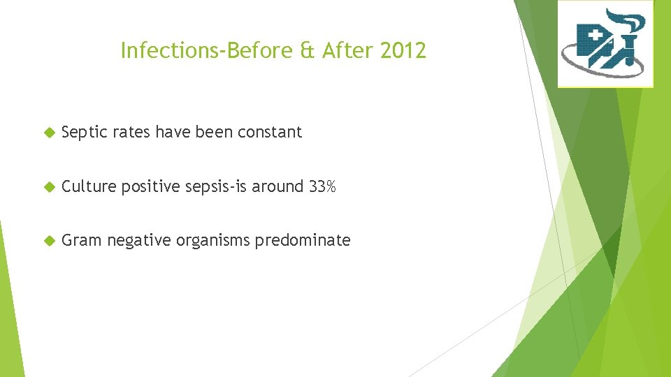 Infections-Before & After 2012 Septic rates have been constant Culture positive sepsis-is around 33%