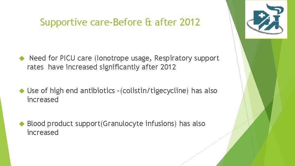 Supportive care-Before & after 2012 Need for PICU care (Ionotrope usage, Respiratory support rates