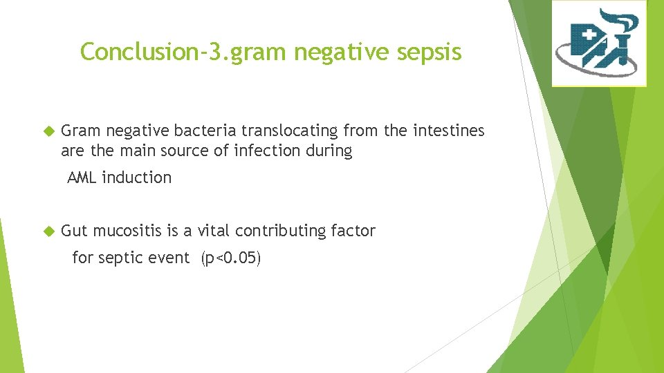 Conclusion-3. gram negative sepsis Gram negative bacteria translocating from the intestines are the main