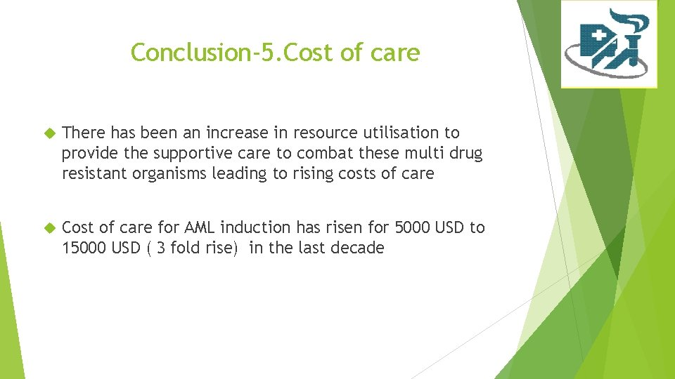 Conclusion-5. Cost of care There has been an increase in resource utilisation to provide