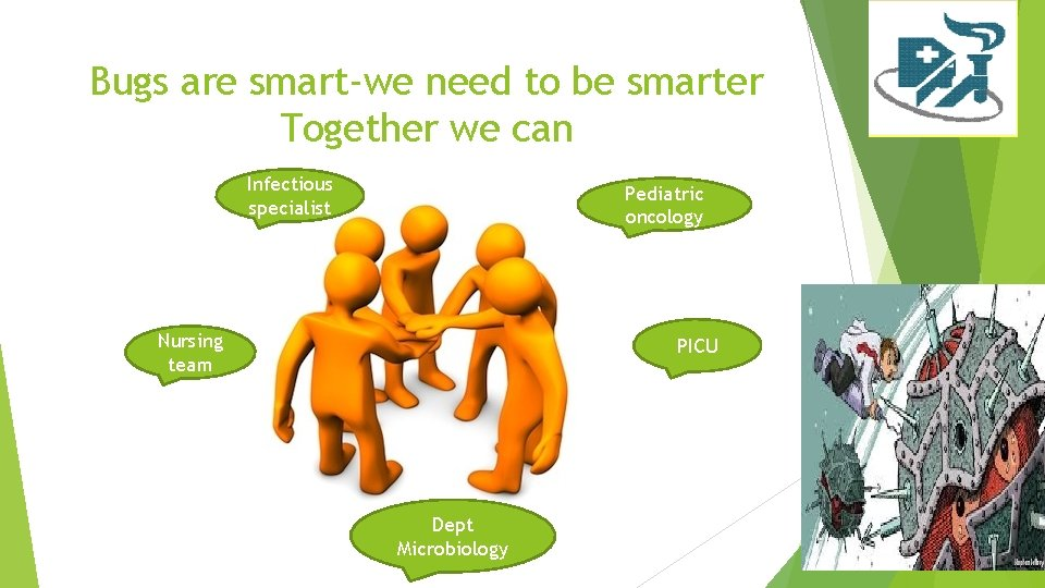 Bugs are smart-we need to be smarter Together we can Infectious specialist Pediatric oncology