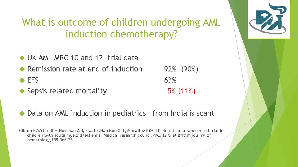 What is outcome of children undergoing AML induction chemotherapy? UK AML MRC 10 and