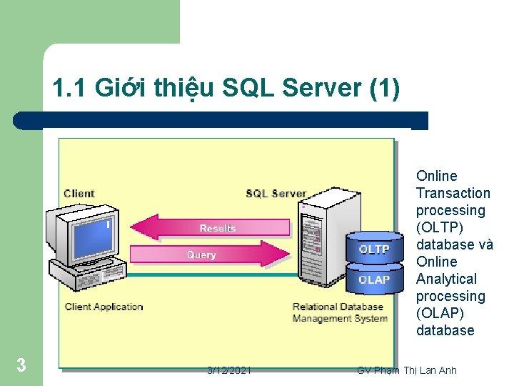1. 1 Giới thiệu SQL Server (1) Online Transaction processing (OLTP) database và Online