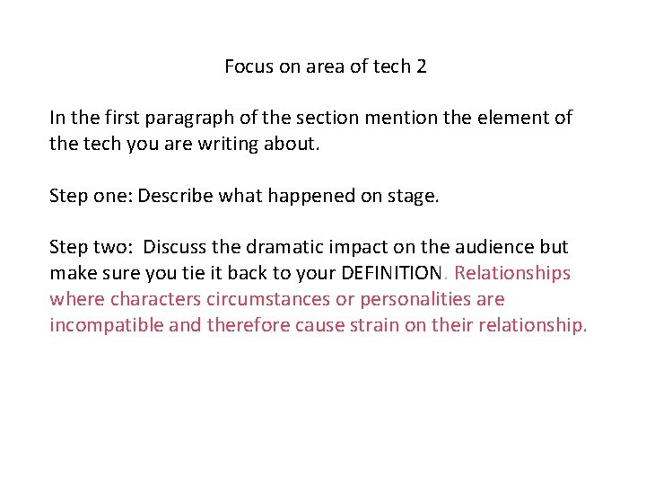 Focus on area of tech 2 In the first paragraph of the section mention