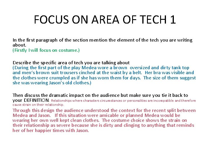 FOCUS ON AREA OF TECH 1 In the first paragraph of the section mention