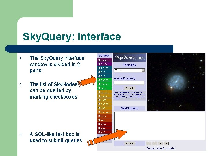 Sky. Query: Interface • The Sky. Query interface window is divided in 2 parts: