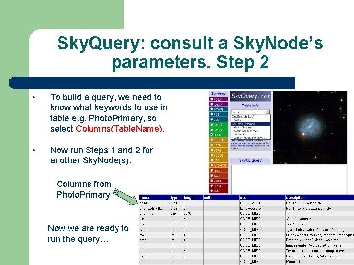 Sky. Query: consult a Sky. Node's parameters. Step 2 • To build a query,