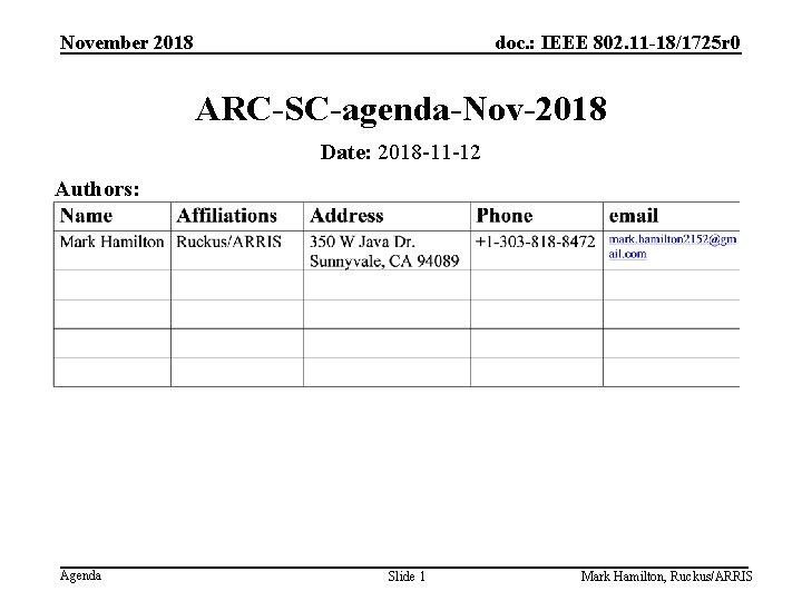 November 2018 doc. : IEEE 802. 11 -18/1725 r 0 ARC-SC-agenda-Nov-2018 Date: 2018 -11