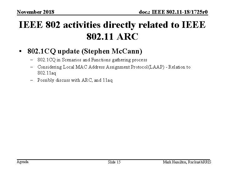 November 2018 doc. : IEEE 802. 11 -18/1725 r 0 IEEE 802 activities directly
