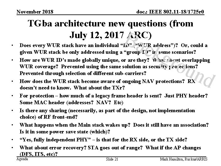 November 2018 doc. : IEEE 802. 11 -18/1725 r 0 TGba architecture new questions