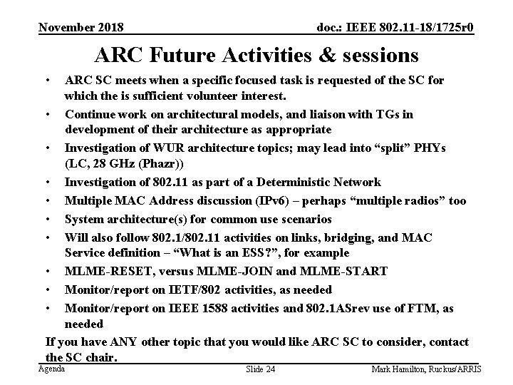 November 2018 doc. : IEEE 802. 11 -18/1725 r 0 ARC Future Activities &