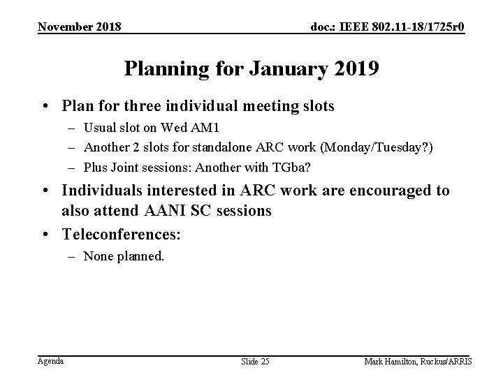 November 2018 doc. : IEEE 802. 11 -18/1725 r 0 Planning for January 2019