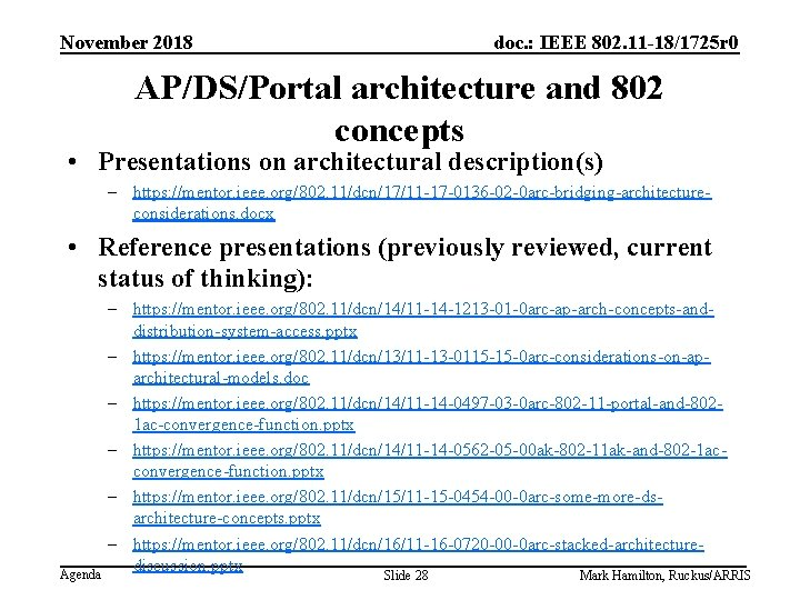 November 2018 doc. : IEEE 802. 11 -18/1725 r 0 AP/DS/Portal architecture and 802