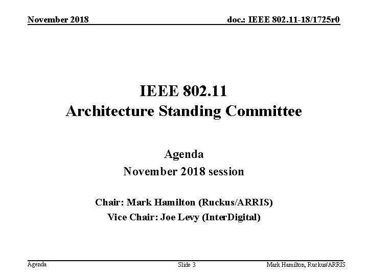 November 2018 doc. : IEEE 802. 11 -18/1725 r 0 IEEE 802. 11 Architecture