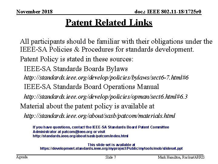 November 2018 doc. : IEEE 802. 11 -18/1725 r 0 Patent Related Links All
