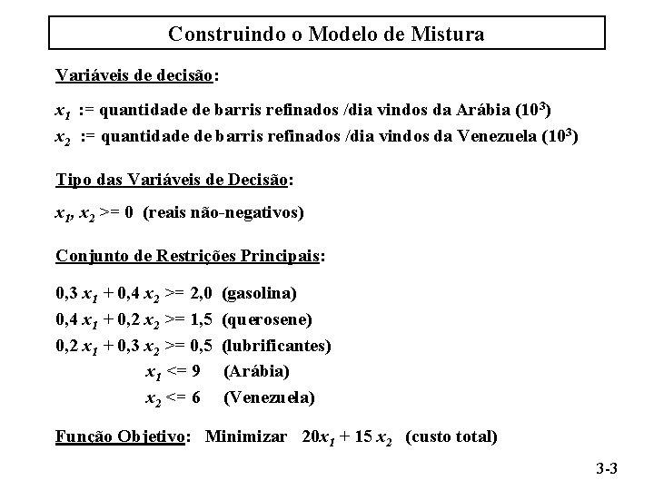 Construindo o Modelo de Mistura Variáveis de decisão: x 1 : = quantidade de