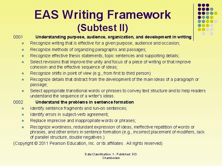 EAS Writing Framework (Subtest II) 0001 Understanding purpose, audience, organization, and development in writing