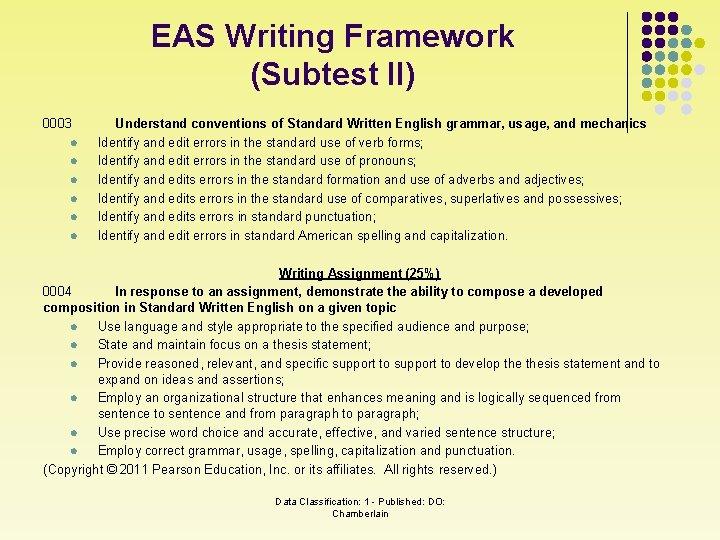 EAS Writing Framework (Subtest II) 0003 l l l Understand conventions of Standard Written